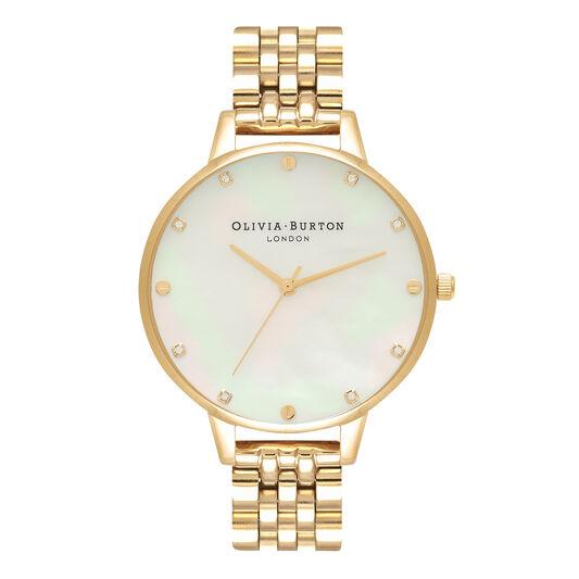 Montre-bracelet en nacre blanche, bracelet en or à boîtier mince