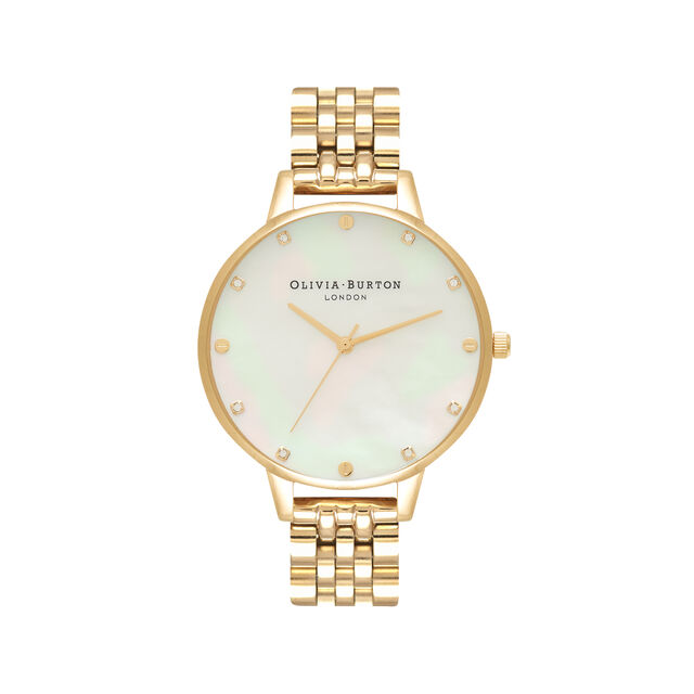 White Mother Of Pearl, Thin Case Gold Bracelet Watch