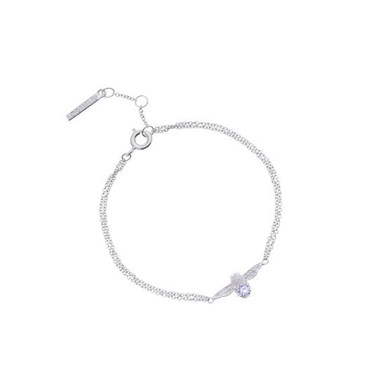 3D Bejewelled Bee Silver, Tanzanite Gemstone Bracelet