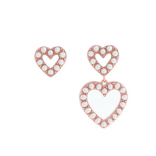 Classic Pearl Heart Mismatch Rose Gold Earrings