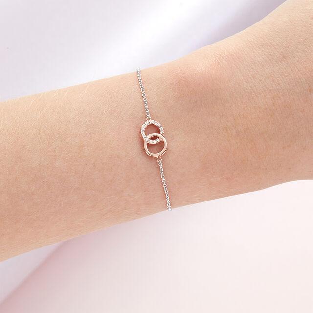 Bejewelled Interlink Chain Bracelet Rose Gold & Silver