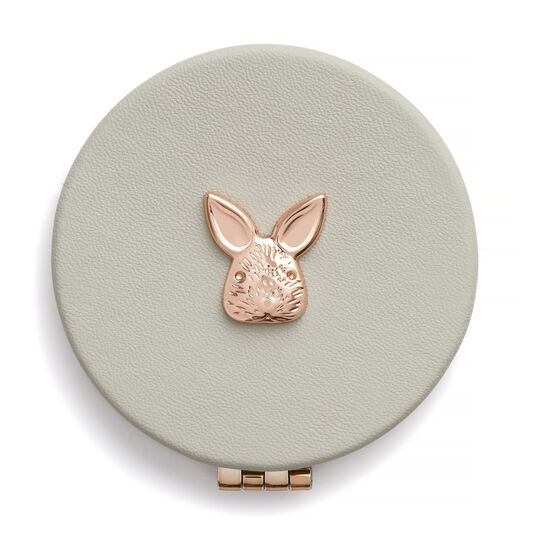 3D Bunny Compact Mirror Grey & Rose Gold