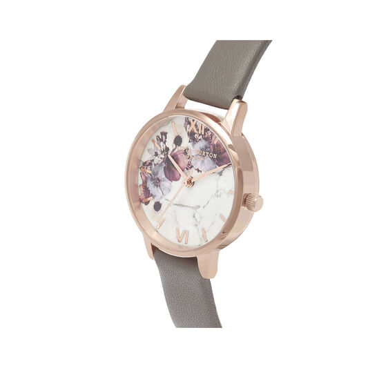 Marble Floral London Grey & Rose Gold