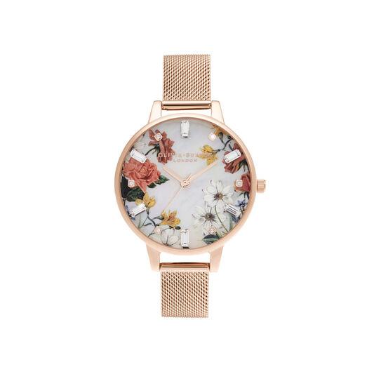 Cadran intermédiaire nacre et bracelet milanais or rose