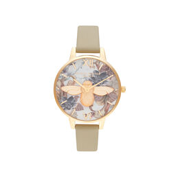 Marble Florals Demi 3D Bee Sand & Gold