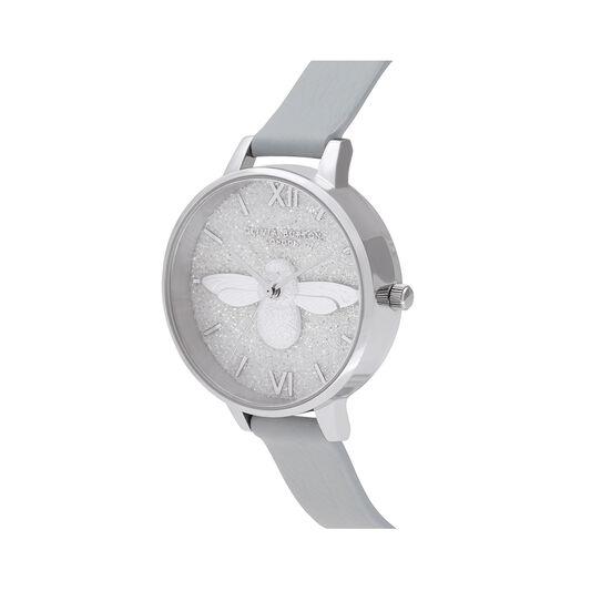 Glitter 3D Bee, Eco Light Grey & Silver