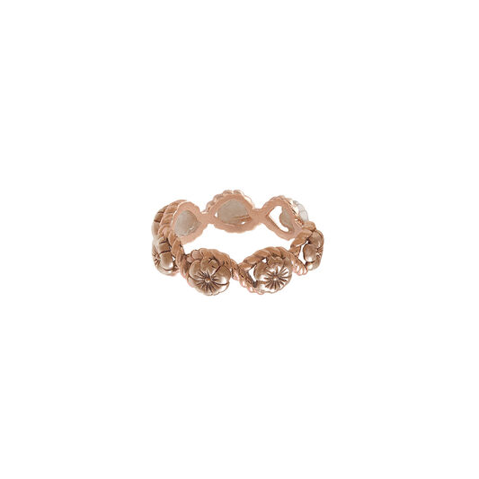 Floral Charm Rope Ring Rose Gold