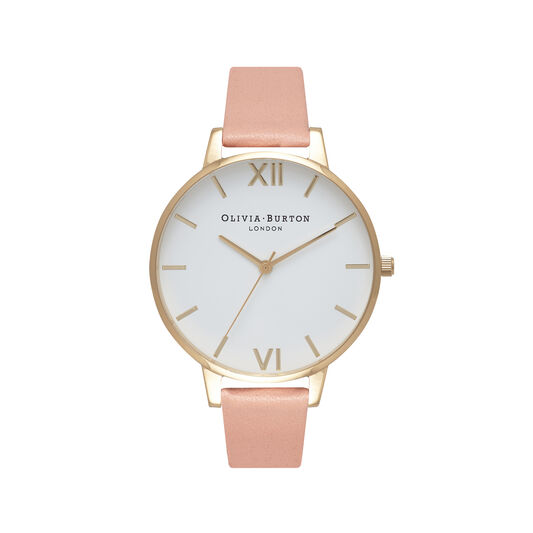 White Dial Dusty Pink & Gold Watch