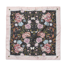 Signature Floral Square Silk Scarf Black
