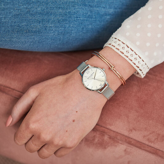 Sunray Silver Mesh Watch