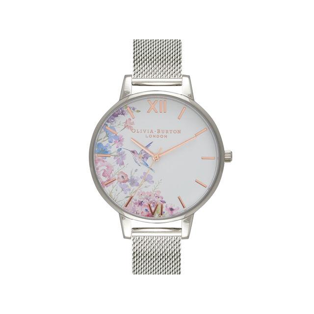 Demi Hummingbirds Silver Mesh Watch