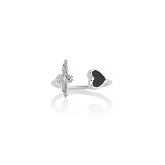 Love Bug Black & Silver Ring