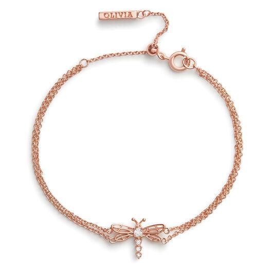Bracelet chaîne Dancing Dragonfly or rose