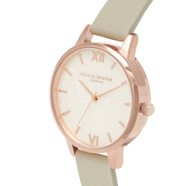 White Glitter Dial, Thin Case Grey & Rose Gold Watch