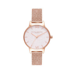 Midi White Glitter Dial Rose Gold Mesh Watch