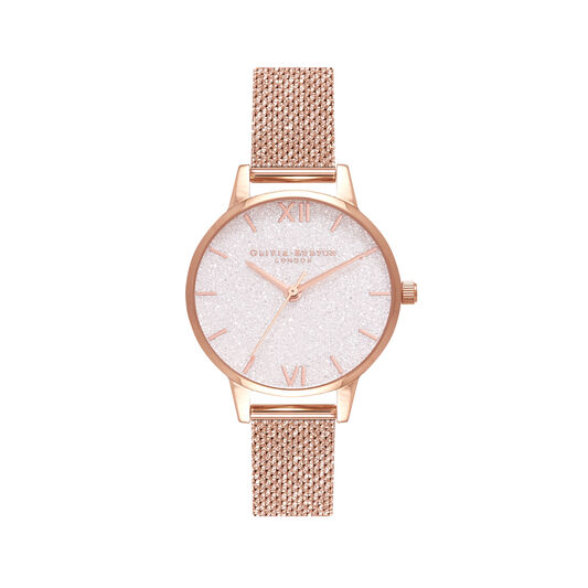Midi White Glitter Dial Rose Gold Mesh Watch