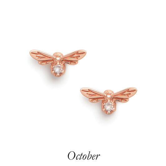 Celebration Stones Celebration Bee Studs Rose Gold & Rose Quartz (October)