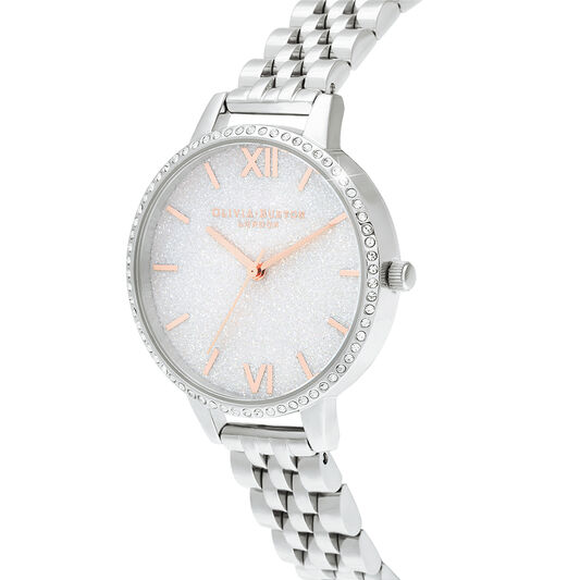 White Demi Glitter Dial Sparkle Bezel Rose Gold & Silver Watch