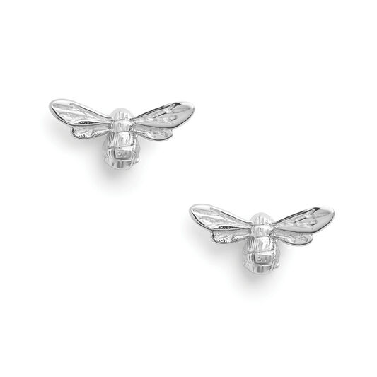 Lucky Bee Stud Earrings Silver
