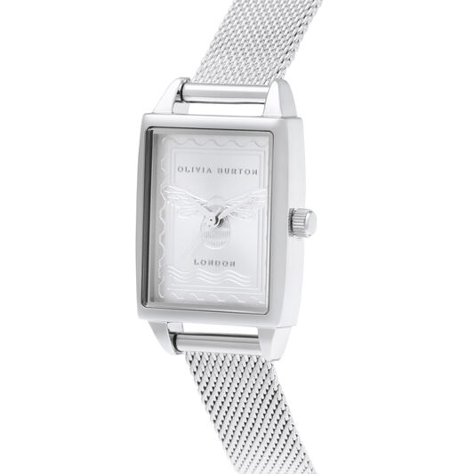 London Stamp Bee Silver Mesh Watch