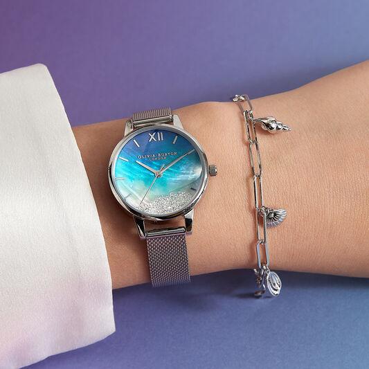 Wishing Waves Midi Dial Blue & Silver Mesh Watch