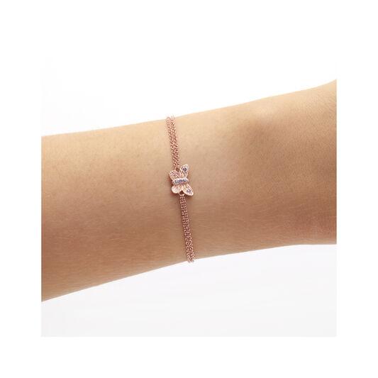 Bejewelled Butterfly Chain Bracelet Rose Gold & Tanzanite