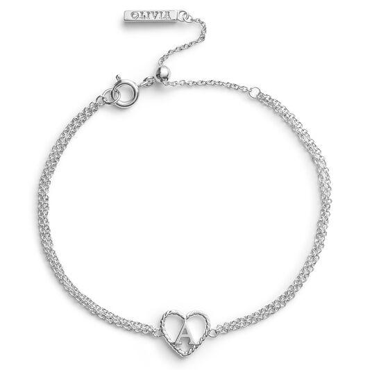 'A' Heart Initial Chain Bracelet Silver