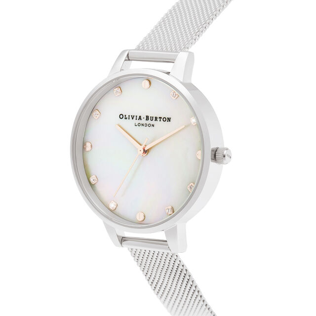 Demi Mother Of Pearl Dial Silver & Rose Gold Mesh Watch