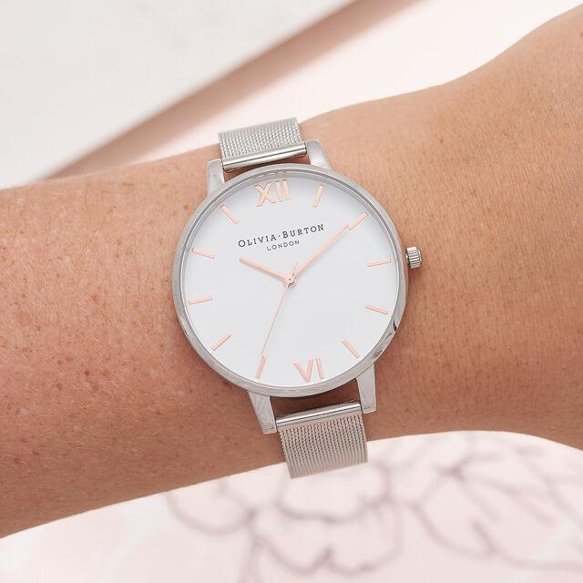 White Dial Silver Mesh Watch