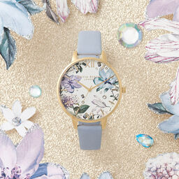 Bejewelled Florals Big Dial Chalk Blue & Gold