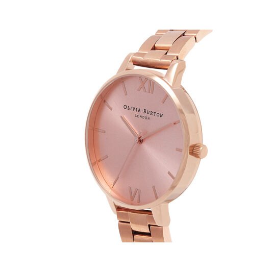 Big Dial Bracelet Rose Gold Watch