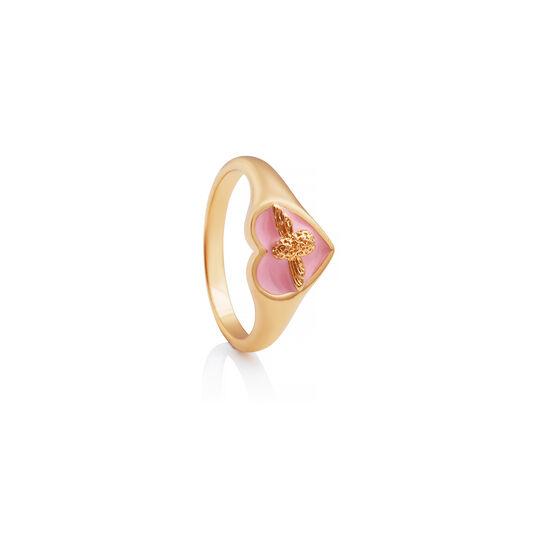 Love Bug Signet Ring Pink & Gold S