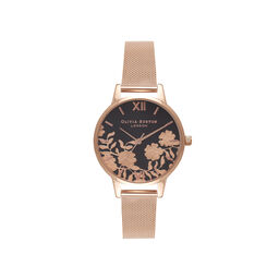 Lace Detail Black Dial & Rose Gold Mesh Watch