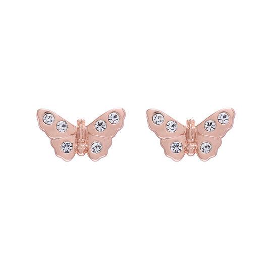 Clous d'oreilles 3D Sparkle Butterfly en or rose