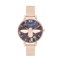 Big Dial 3D Bee Lapis Lazuli & Rose Gold Boucle Mesh