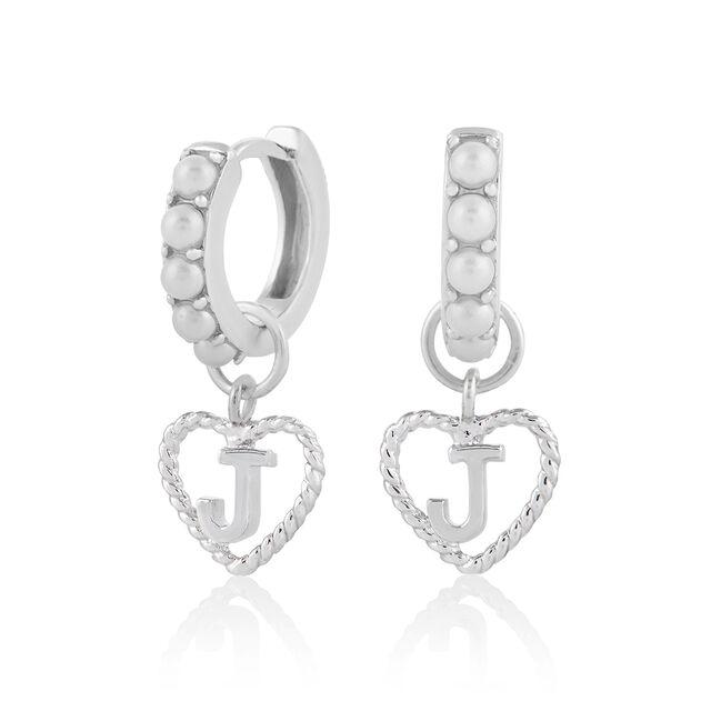 'J' Faux Pearl Heart Initial Huggie Hoop Silver