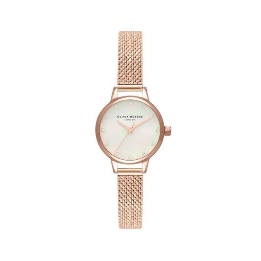 Montre à cadran Mini nacre blanche, index scintillants et bracelet milanais bouclé or rose