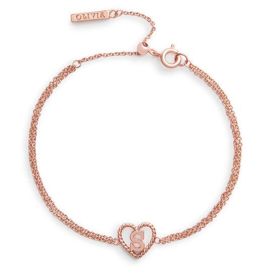 'S' Heart Initial Chain Bracelet Rose Gold