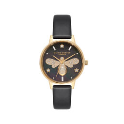 Sparkle Bee Black & Gold Watch
