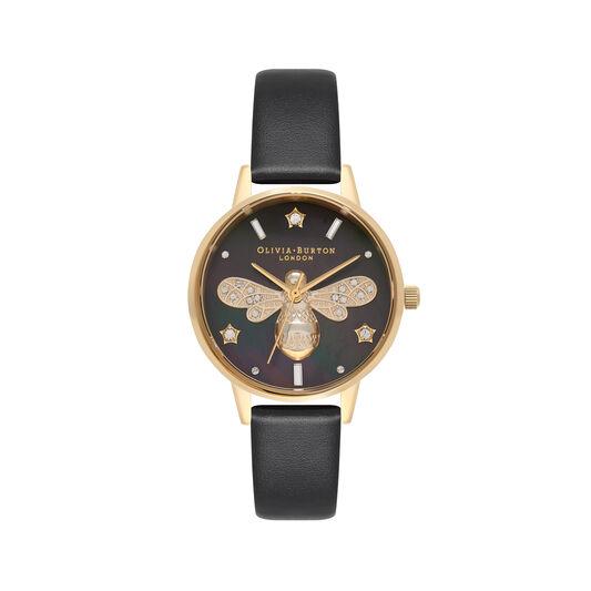 Montre élégante noire et or au motif d'abeille