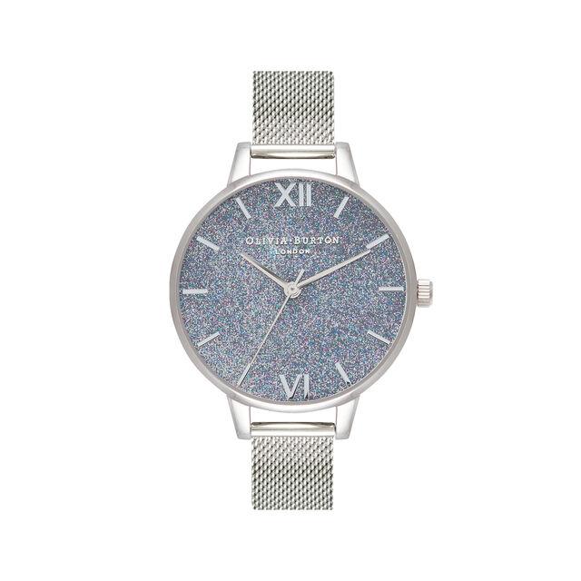 Silver Glitter Demi Dial & Silver Mesh Watch