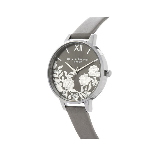 Lace Detail Grey & Silver Watch