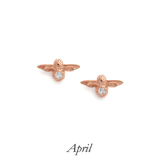 Celebration Rose Gold & White Topaz Bee Studs