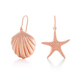 Shell & Starfish Rose Gold Sleeper Earrings