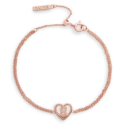 'S' Heart Initial Chain Bracelet Rose Gold