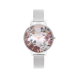 British Blooms Silver Mesh Watch