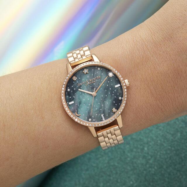 Northern Lights Demi Dial Rose Gold Bracelet Watch