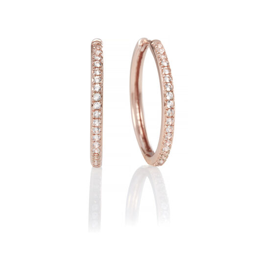 Cubic Zironia & Rose Gold Hoop Earrings