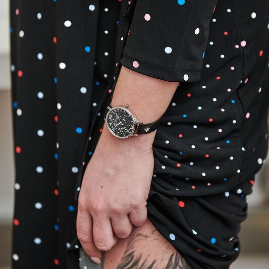 Celestial Star, Black & Silver Watch