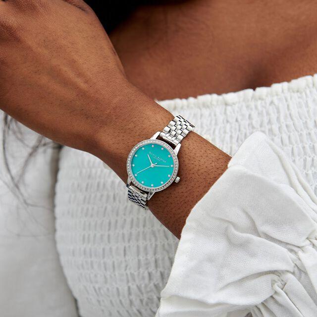 Midi Green Mother Of Pearl Sparkle Bezel, Silver Bracelet Watch
